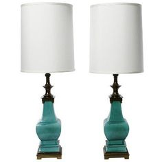 Turquoise Lamps: Attributed to Tommi Parzinger, by Stiffel. Porcelain and bronze. $5500. US, circa 1950.