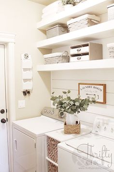 Small laundry room organization and decor ideas. How to maximize your space in a… Small laundry room organization and decor ideas. How to maximize your space in a small laundry room on a budget Small Laundry Rooms, Laundry Room Design, Laundry In Bathroom, Basement Laundry, Garage Laundry, Laundry Area, Laundry Room Wall Decor, Bathroom Plumbing, Basement Walls