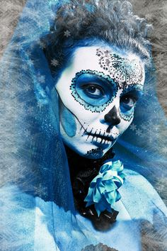 winter make up sugar skull beautiful model with ice. Santa Muerte concept.
