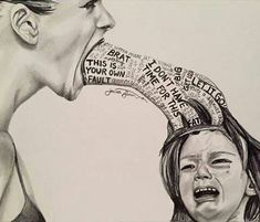 Stop child abuse! Verbal, emotional and psychological child abuse art - unknown artist Art Sketches, Art Drawings, Pencil Drawings, Sketch Manga, Sad Art, Powerful Images, Powerful Art, Arte Horror, Photomontage
