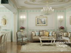 Нежная светлая гостиная в пастельных тонах в который раз напоминает о том, что классика не стареет.