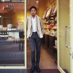 干場義雅のエコノミックラグジュアリースタイル #Hoshibastyle #EconomicLuxury #Jacket/BEAMS F #Shirts/decollo #Knit/Balantaine #Pants/Rota #Belt/HERMES #Shoes/HERMES #Watch/EDOX