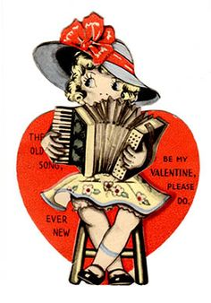 Antique card with movable accordion