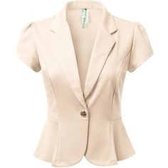 DRESSIS Women's Solid/Polka Short Sleeve Buttoned Blazer Jacket S-3XL... ($25) ❤ liked on Polyvore featuring outerwear, jackets, blazers, fancy jackets, short-sleeve jackets, short sleeve blazer jacket, short-sleeve blazers and dressy jackets