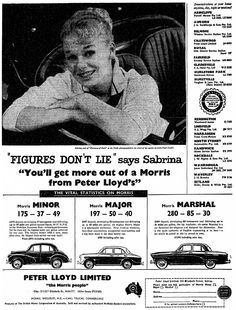 The ad of 1960s for PETER LLOYD LIMITED.  'Sabrina' guarantees the quality.