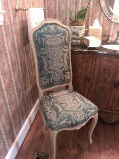 French antique chair for the powder room.