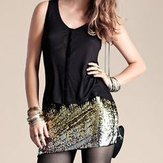 haoduoyi Women's Sequins Slim Sexy Package Hip Evening Party Fashion Mini Skirts  $9.9