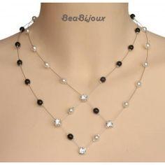 Collier mariage blanc et noir strass Lace Jewelry, Beaded Jewelry Patterns, Wedding Jewelry, Jewelry Necklaces, Jewellery, Wire Jewelry Designs, Necklace Designs, Jewelry Crafts, Homemade Jewelry