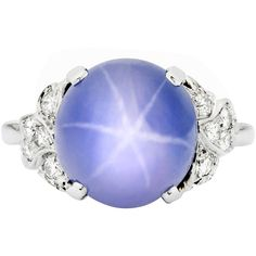 Preowned 10.84 Blue Star Sapphire And Diamond Ring ($10,950) ❤ liked on Polyvore featuring jewelry, rings, blue, blue ring, pre owned diamond rings, round ring, sapphire diamond ring and blue sapphire jewelry