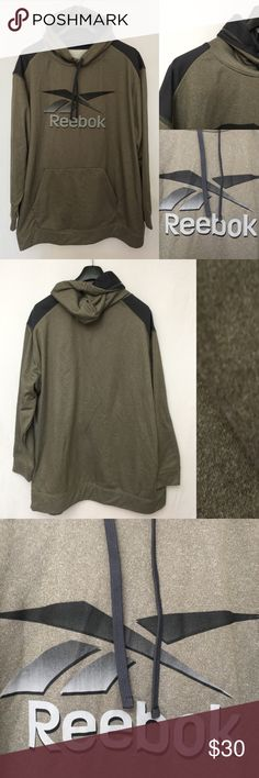 """Reebok Mens Olive Green Logo Lightweight Hoodie Reebok Mens Olive Green Heathered Black Logo Lightweight Hoodie Size 3XL Polyester  Worn only one time so in nearly new condition.  MEASUREMENTS: SIZE 3XL Length 39.5"""" Sleeves 29"""" Underarm to underarm 30"""" Reebok Shirts Sweatshirts & Hoodies"""