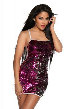 #Pailletten Kleid PARTY pink-18052 - Kleidung Onlineshop