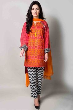 orange short shirt with matching dupatta and printed black and white trousers latest maria b fancy party wear eid dresses 2017 with price for girls