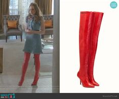 'Rockoko' Over the Knee Boot by Fendi worn by Fallon Carrington (Elizabeth Gillies) on Dynasty Fashion Tv, Fashion Outfits, Over The Knee Boot Outfit, Long Sleeve Evening Dresses, Celebrity Outfits, Blue Lace, Costume Design, Blue Dresses, Lace Dress