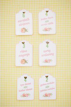 escort cards on a yellow gingham board | Gracie Blue #wedding