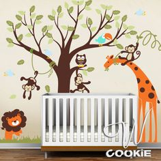 Safari Land Nursery Kids Wall Decal by wcookie on Etsy, $179.00