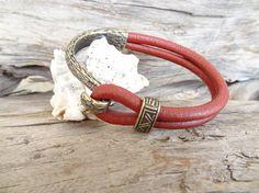 EXPRESS SHIPPINGMen's Burgundy Leather BraceletDouble #bracelet #for #summer #fashion