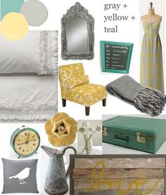 Gray, Yellow and Teal inspiration board- New favorite color pallet. I want to do this in my Master Bedroom!