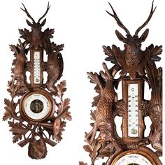 Antique Black Forest Hand Carved Wood Fruits of the Hunt 31 Barometer, Stag Antlers, Hare, Pheasant, Rifles Carved Wood, Hand Carved, Stag Antlers, Black Forest, Old Things, Clock, Carving, Pheasant, Rifles