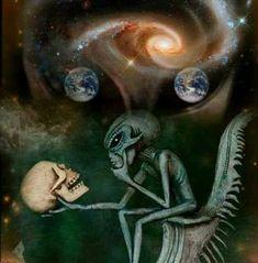Image about skull in Alien Creatures.UFO by Lew Aliens And Ufos, Ancient Aliens, Desenho New School, Bad Trip, Arte Do Hip Hop, Grey Alien, Alien Tattoo, Psy Art, Alien Art