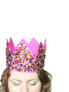 DIY: sequin party crowns - The Sweet Escape Creative Studio Festival Decorations, Birthday Decorations, Diy Crown, Toddler Art, Colorful Party, Crazy Hair, Recycled Art, Creative Studio, Diy Party