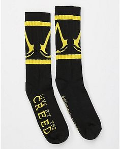 Assassins Creed Live By The Creed Crew Socks - Spencer's