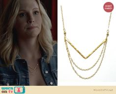 Caroline's chevron chain necklace on The Vampire Diaries. Outfit Details: http://wornontv.net/23962 #TheVampireDiaries #TVD