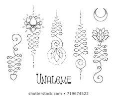 Lotus and Sacred Geometry. Unamole hindu symbol of wisdom and path to perfection. Set of tattoo flesh, yoga logo, Buddhism design. Boho print, poster, t-shirt textile. Lotus Drawing, Yoga Drawing, Symbol Drawing, Unalome Tattoo, Sternum Tattoo, Stencil Designs, Henna Designs, Tattoo Designs, Lotus Tattoo
