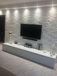Creative Modern TV Wall Decor Idea for Living Room Design - Home Decor Interior Tv Wall Design, Ceiling Design, Home Living Room, Living Room Decor, Kitchen Living, Tv Wall Decor, Wall Tv, Tv Wanddekor, Tv Wall Cabinets