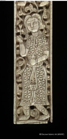 Two ivory plaques.London,England, The British Museum.14th c. Inv.Number:1874.3-2.6&7. Carved ivory.Height 28.2 cm (broken plaque is now 17.6 cm high),width 2.0 cm, depth 0.6 to 0.7 cm.Period Mamluk Provenance:Egypt. Islamic World, Islamic Art, Virtual Museum, Essay Examples, Medieval Art, 14th Century, North Africa, British Museum, African Art