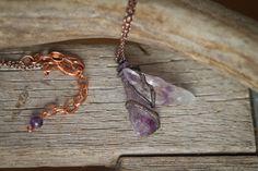 Amethyst Crystal Necklace Copper Crystal by DreamyDellDesigns