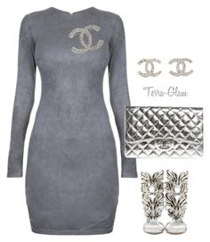 Silvery Sexy by terra-glam on Polyvore featuring polyvore fashion style Giuseppe Zanotti Chanel clothing