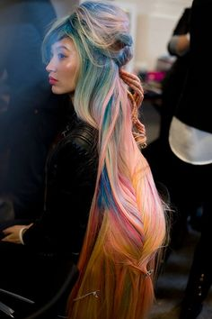 Gorgeous rainbow hair mega fishtail braid from Wella Professional. hair By:Hester Wernert-Rijn of the Netherlands #rainbowbraid #hotonbeauty www.hotonbeauty.com