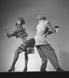 "Doing The Bump | 1943    African American dancer Katherine Dunham dancing the Florida East-Coast shimmy with dancer Ohardieno during show ""Shore Exursion"". New York, NY. 1943"