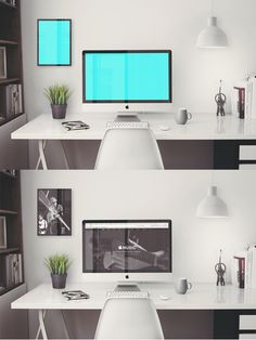 Free iMac 5K Retina 27 inch Office PSD Mockup
