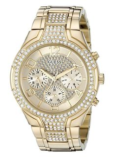 Gold-tone multi-function dial featuring time functions for day, date, 24 Hour military/International time functions. Polished gold-tone stainless steel, crystal set bracelet watch. Water-resistant up to 10 meters/33 feet. #goldwatcheswomen #goldwatcheswomenjewellery #watches #watcheswomen #watcheswomenfashion #luxurywatcheswomen #braceletwatcheswomen #watcheswomenfashionclassy #guesswatcheswomen #goldaccessories #goldaccessoriesjewelry #goldaccessoriesoutfit Gold Face, Casual Watches, Elegant Watches, Stylish Watches, Luxury Watches, Bling, Gucci, Sport Watches, Stainless Steel Bracelet