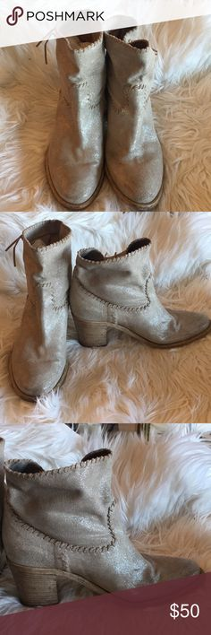 """Sparkly Grey Leather Boots. Size 39 by Casini Sparkly Grey Leather Boots. Size 39 by Casini. Purchased in Florence, Italy. Leather 3""""H Casini Shoes Ankle Boots & Booties"""