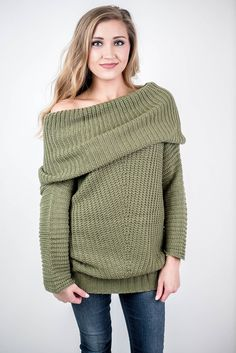 Take on the colder months with our Olive Fold Over Ribbed Sweater! Wear this sweater across campus in the colder months to stay warm on the way to class or stay warm by the fire while watching Netflix with your man!  Olive Fold Over Ribbed Sweater - Single Thread Boutique, $48.00 #olive #fold #over #ribbed #sweater #open #neck #vertical #stripe #pattern #knit #slimming #v #bulky #long #sleeves #off #shoulder #cowl #neck #womens #fashion #fall #winter #singlethreadbtq #shopstb #boutique