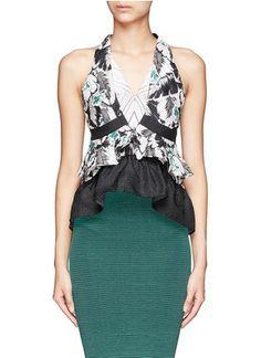 PETER PILOTTO - Amanda printed silk cloqué peplum top | Multi-colour Vests/Tanks Tops | Womenswear | Lane Crawford