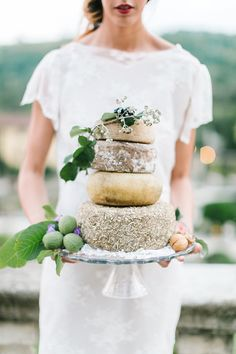 Layer Cake of Italian Cheese | Maria Lamb Photography | Gracious Villa Wedding in the Heart of Tuscany