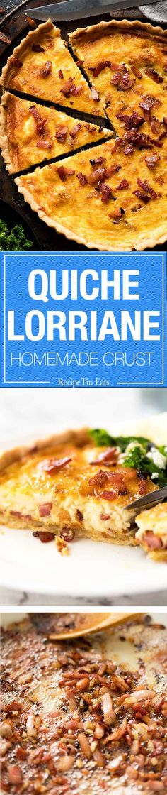 Quiche lorraine with an easy homemade quiche crust with a custardy filling and plenty of bacon!