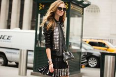 The NYFW Street-Style Looks That Truly Stunned #refinery29  Big, bold studs on Chiara Ferragni.
