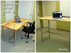 Adjustable Height Sitting and Standing Desk http://www.simplifiedbuilding.com/blog/adjustable-height-sitting-and-standing-desk/ #KeeKlamp #diy #industrialpipe #pipedesk