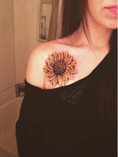 Attractive Shoulder Tat with Sunflower.