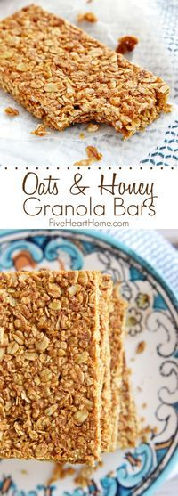 Oats and Honey Granola Bars ~ these homemade, all-natural granola bars are baked until slightly crunchy, making them perfect for breakfast-on-the-go or as a wholesome, portable snack | FiveHeartHome.com