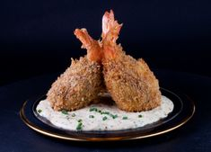 Crown of Deep-fried Crab-stuffed Shrimp with White Remoulade Sauce. Don't their little majesties look tasty?