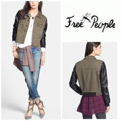 Free People Jacket Sleek faux-leather sleeves and oversized chest pockets give a modern update to a classic denim jacket. Front button closure. Chest pockets. 100% cotton with 100% polyurethane faux leather. Machine wash cold. By Free People;  Color; Army Combo Free People Jackets & Coats