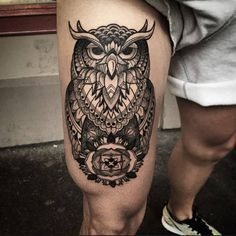 The owl tattoo may just be the best animal-inspired tattoo for you. While lion, . - The owl tattoo may just be the best animal-inspired tattoo for you. While lion, wolf and eagle tatto - Owl Thigh Tattoos, Thigh Tattoo Men, Calf Tattoo, Girl Tattoos, Tattoos For Guys, Sleeve Tattoos, Tattoos For Women, Eagle Tattoos, Tattoo Women