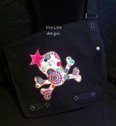 Messenger Bag, black, skull, bright and fun. $42.00, via Etsy.