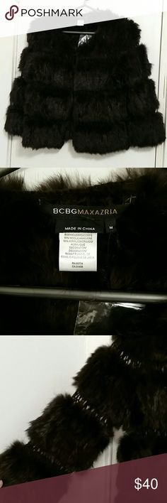 NWT BCBG dark brown rabbit fur jacket medium Pretty, not too in your face, fur jacket from BCBG MaxAzria. Very deep, dark brown. New with tags. Size medium. BCBGMaxAzria Jackets & Coats