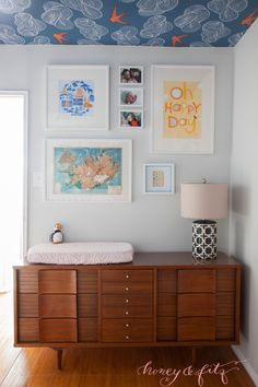 Want something unexpected in the nursery? Wallpaper the ceiling!